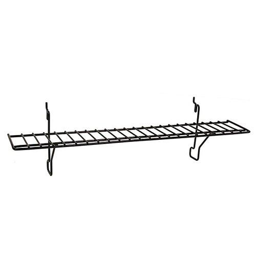 Slatwall, Pegboard, Gridwall Flat Wire Retail Display Shelf - 4'' D x 23'' L - Black - 10 Pack