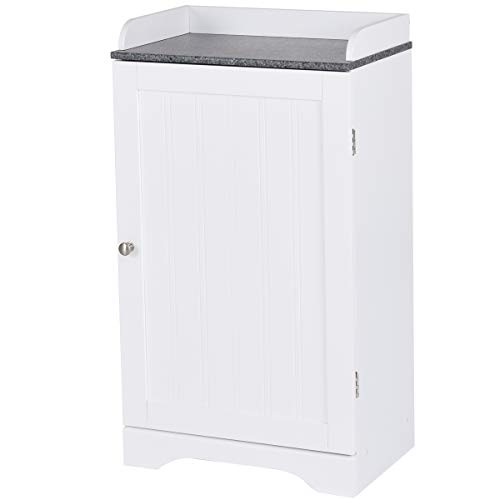 Tangkula Bathroom Floor Storage Cabinet Freestanding Adjustable Shelves Organizer with Single Door White Finish
