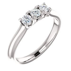 (Jambs Jewelry Platinum 3 mm Round Three-Stone Anniversary Band Mounting)
