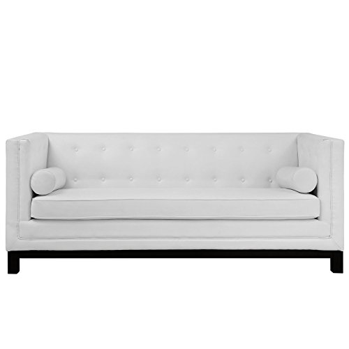 (Modway Imperial Club Style Tuxedo Modern Sofa With [Bonded] Leather Upholstery And Two Bolster Pillows In White)