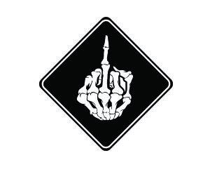 JS Artworks (3) Skeleton Middle Finger Funny Hard hat/Helmet Vinyl Decal Sticker (Skateboard Sticker Middle Finger)