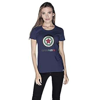 Creo Captain Palestine T-Shirt For Women - L, Navy