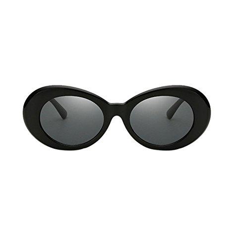 Lunettes UV400 de rondes Femmes Retro black Lunettes Hommes soleil de Lunettes Meijunter soleil Style Oval a0Cq41q