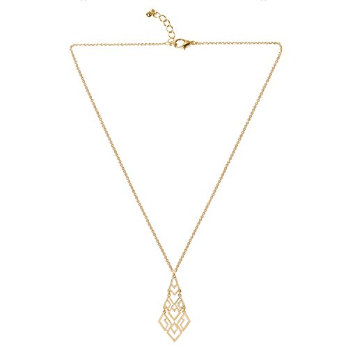Long gold pendant necklace amazon d exceed womens cutout diamond chandelier pendant necklace 30 3 extension necklace gold aloadofball
