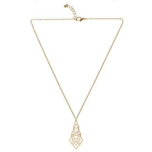 Linked Long Necklace - D EXCEED Women's Cutout Diamond Chandelier Pendant Necklace 30