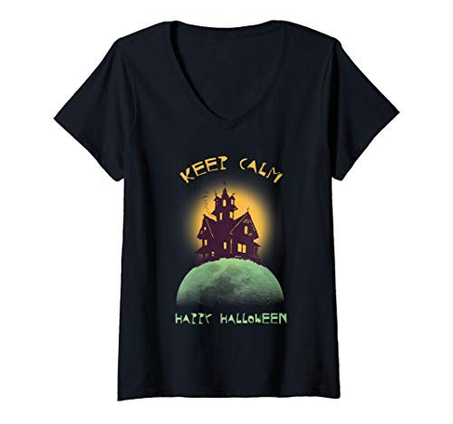 Womens Funny Keep Calm Happy Halloween Scary Witch Castle V-Neck T-Shirt (Create Your Own Keep Calm T Shirt)