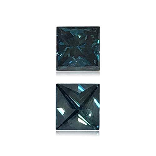 Mysticdrop 0.53 Cts of 4.7x4.5x3.2 mm SI1 Princess Cut Teal Blue Diamond (1 pc) Loose Color Diamond