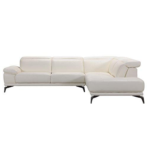 Divani Casa Tundra Modern White Leather Sectional Sofa White