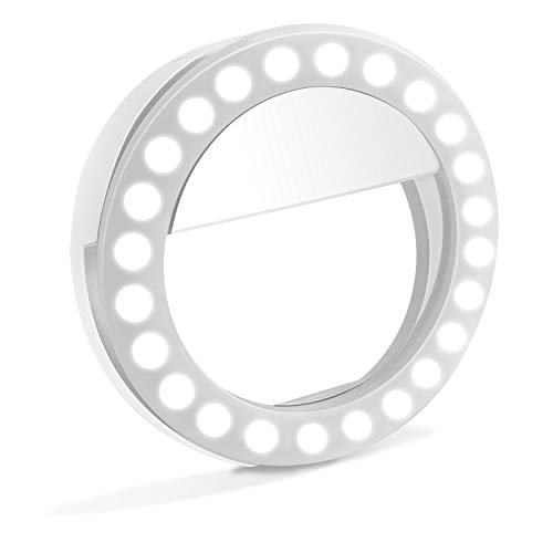 Selfie Light Ring, XINBAOHONG Rechargeable Clip-on Selfie Fill Light with 48 LED for Smart Phone Photography Camera Video Girl Makes up (White)