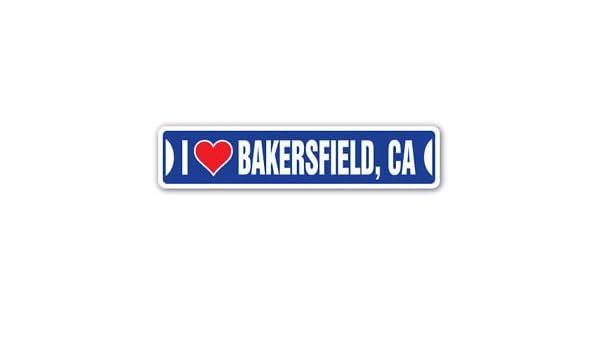 Amazon com i love bakersfield california custom sticker decal wall window door art vinyl street signs 8 25 x 2 0 automotive