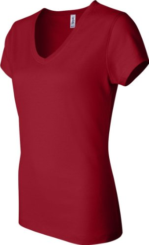 Bella + Canvas Camiseta de manga corta Jersey de cuello de la mujer Rojo