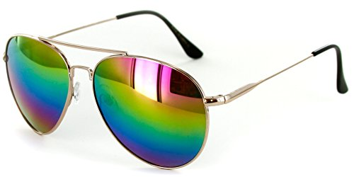 Revo Sunglasses Affordable (Officer Aviator Sunglasses with Rainbow Revo Lens for Stylish Men an Women (Gold w/Rainbow))