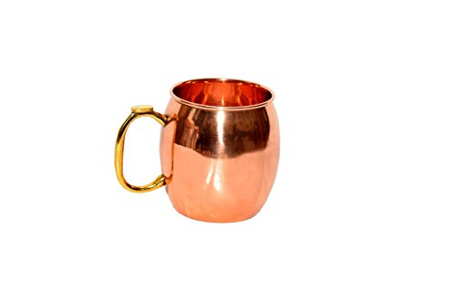 Brass Copper Tin (Solid Copper Mug Smooth Moscow Mule With Brass Handle 16 oz - No Nickel/Tin/Al Interior - Easy To Hold Handle, Food Safe - Perfect Thanksgiving/Christmas)