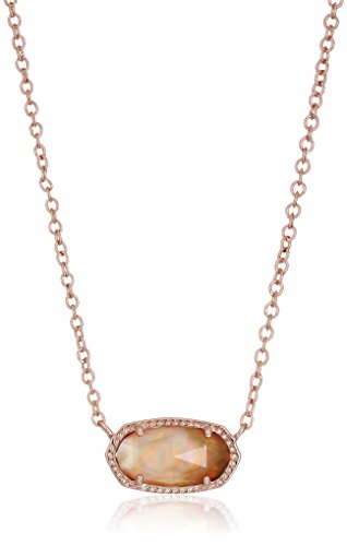 Kendra Scott Signature Elisa Rose Gold Plated Brown Mother-of-Pearl Pendant Necklace (Mother Of Pearl Rose Pendant)