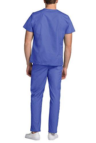 Médical ceil Pantalon Ensemble Haut Uniforme Avec Et Uniformes Blue Blouse Adar Bleu Unisexe UxXPFw