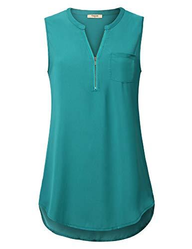 Timeson Women's Tunic Tops, Junior Casual Chiffon Blouses Henley V Neck Zipper Tank Tops Lightweight Comfy Soft Sleeveless Tunics Shirts for Business Work for Leggings Deep Cyan XX-Large