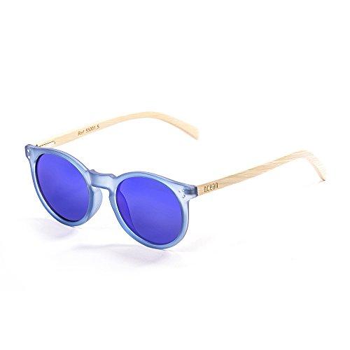 Ocean Sunglasses Lizard Lunettes de soleil White Transparent Frame/Wood Natural Arms/Revo Blue Lens c5Uo5zWm
