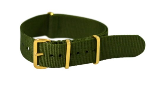 Clockwork Synergy Premium Nylon Nato Watch Straps bands Yellow Gold Hardware (18mm, Army Green)