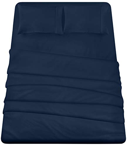 Utopia Bedding 4-Piece California King Bed Sheets Set (Navy) (Jersey Fitted Sheet Cal King)