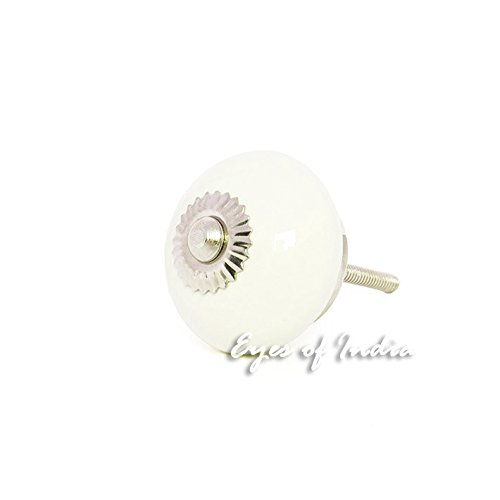 Eyes of India White Cream Ceramic Dresser Cupboard Cabinet Door Knobs Pulls Decorative Shabby Chic Colorful Boho Bohemian