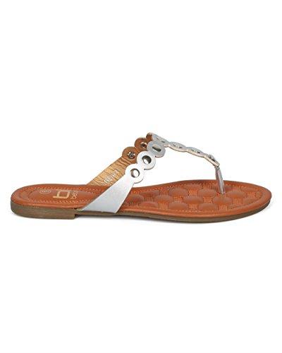 Alrisco Women Metallic Embellished Thong Sandal - T-Strap Flip Flop Flat Sandal - Casual Everyday Versatile Walking Sandal - HD60 by Betani Collection Silver Metallic dkoWN