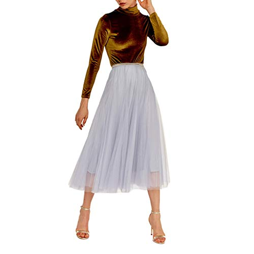 Zlolia Solid Color Tulle Chiffon Pleated Swing A-Line Skirt for Women High Waist Stretch Casual Midi Skirt Gray ()