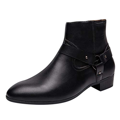 Men's Chelsea Boots High-Top Leather Casual Point Toe Western Style Ankle Dress Shoes (US:10.5, Black)