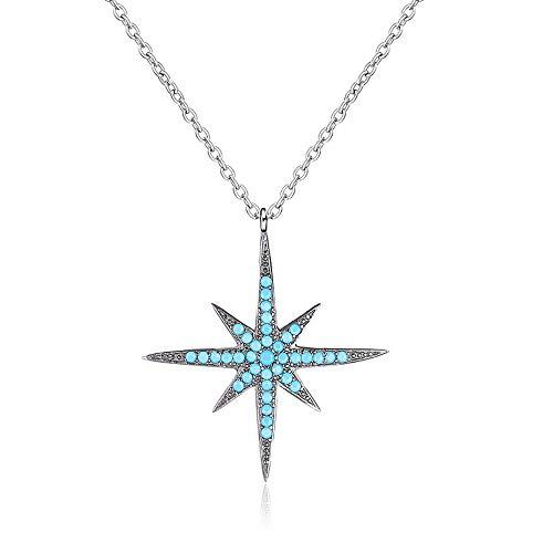 WOFEIYL Lady's Starfish Pendant S925 Sterling Silver Jewelry Turquoise Polaris Joker Necklace -