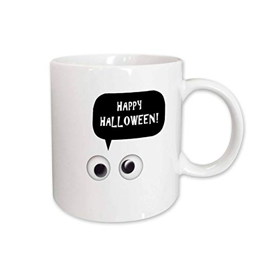 3dRose InspirationzStore - Occasions - Happy Halloween - cute white spooky cartoon ghost eyes talking object - 15oz Two-Tone Green Mug -
