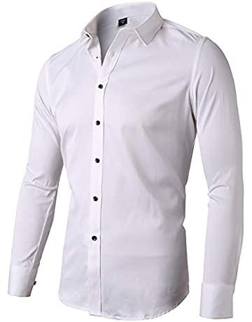 5a93b920f INFLATION Mens Bamboo Dress Shirt Slim Fit Long Sleeve Elastic Formal Shirt  Casual Solid Button Down