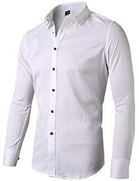 FLY HAWK Mens Dress Shirts, Bamboo Button Down Casual Slim Long Sleeve Work Shirt for Men