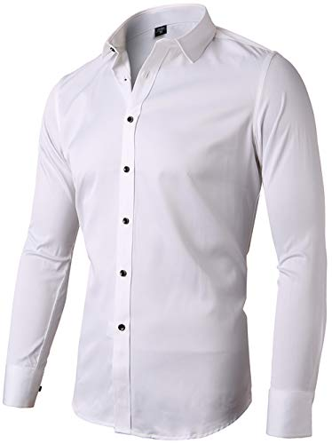 (Mens Fiber Casual Button Up Slim Fit Collared Formal Shirts, White, 17