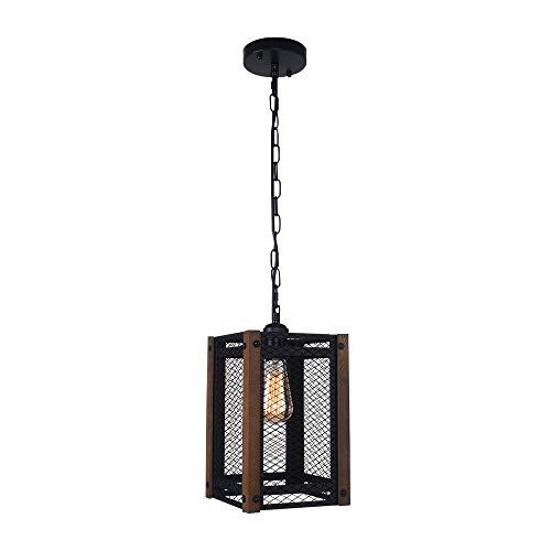 EDISLIVE 1-Light Pendant Light Metal Nets Shade with Wooden Frame Rustic Wood Mesh Cage Island Light for Dining Room