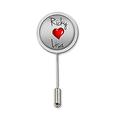 Personalised Love Heart Any Names Stick Pin Tie Pin With