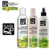 Elasta QP Olive Oil & Mango Butter Triple Set (Moisture Shampoo, Growth Moisturizer, and Leave in H2 Conditioner) Plus free EYE Pencil by (Elasta Qp Moisturizing Shampoo)