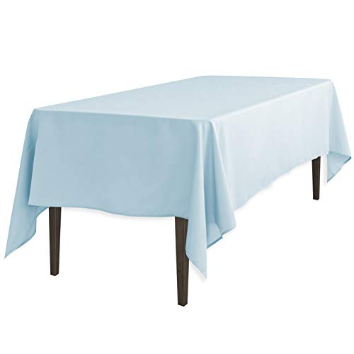 LinenTablecloth 60 x 126-Inch Rectangular Polyester Tablecloth Baby Blue