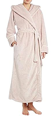 Betusline Women's Long Fleece Robe Solid Hooded Bathrobe