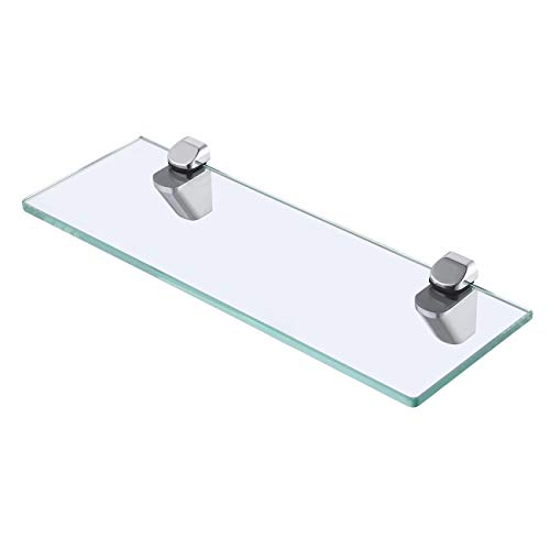 (KES 14-Inch Bathroom Tempered Glass Shelf 8MM-Thick Wall Mount Rectangular, Polished Chrome Bracket, BGS3202S35)