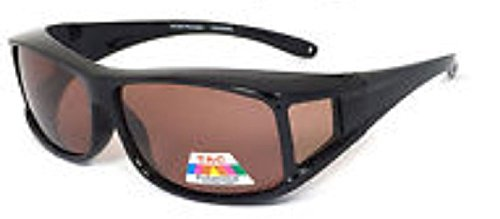 Men and Women Polarized Fit Over Lens Cover Sunglasses - Italian Black/Brown lens (Brown Lens Glass)