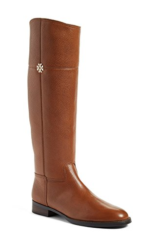 Tory Burch Jolie Logo Riding Leather Boots 9 Rustic Brown