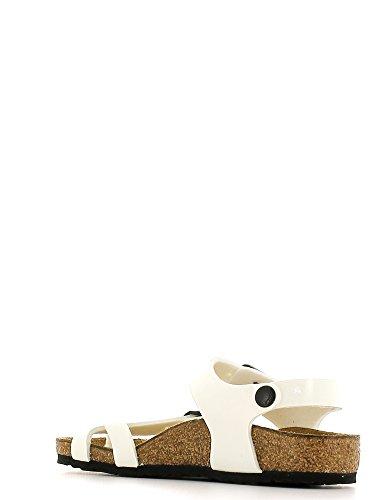 ... BIRKENSTOCK - Infradito bianco in ecopelle con sottopiede in sughero,  Unisex Bambino, bambina, ...