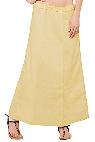 s Readymade Cotton Floor Length Free Size Petticoat Underskirt Slips for Indian Sarees(P104BEI4) ()