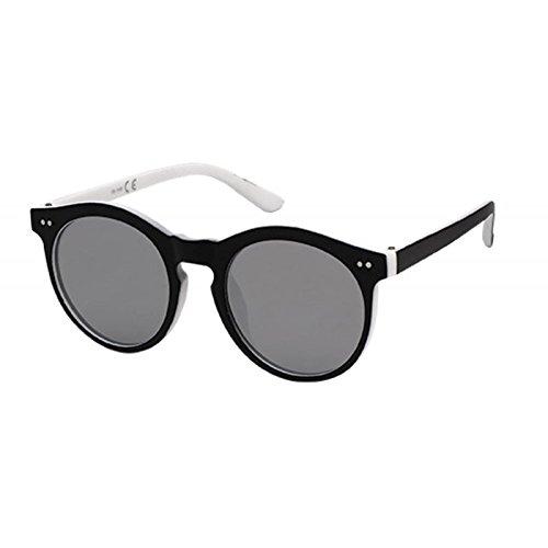 Sonnenbrille Panto Round Glasses 400 UV Schlüssellochsteg wellig zwei Punkte blau hCl2ZEaI