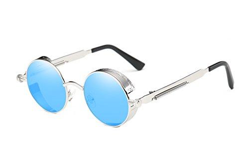VIVIAN & VINCENT Vintage Hippie Retro Metal Round Circle Frame Sunglasses Silver Frame Blue ()