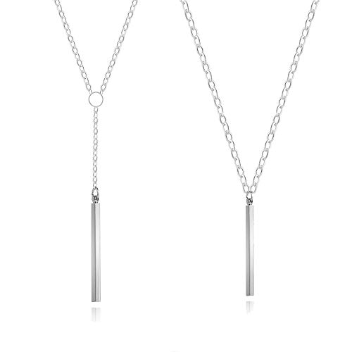 (Long tiantian Y Lariat Necklace&Earrings for Women Dainty Bar Drop Jewelry Set Minimal Jewelry (F))