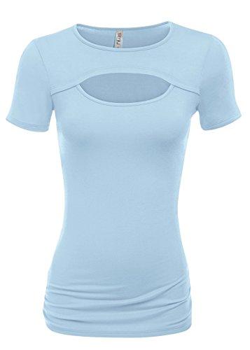 Simlu Sky Blue Top For Women Short Sleeve Summer Tops Sky Blue Shirts,X-Large (Cut T-shirt Sky Womens)