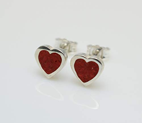 Heart-Shaped Coral Gemstone Earrings Handcrafted, Semi Precious Stone by Handmade Studio