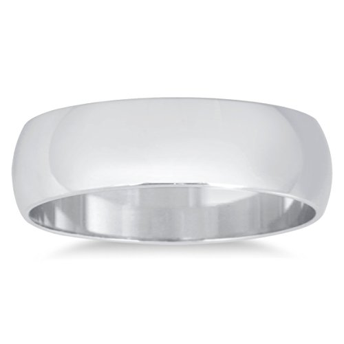 5mm Domed Wedding Band in 10K White Gold ()