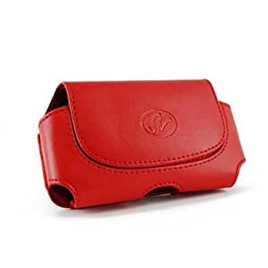 Brand New Red Color Horizontal Imitation Leather Cover Belt Clip Side Case Pouch For BlackBerry Curve 9360 Apollo