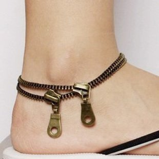 usongs pop punk retro jewelry Foot Chain anklet zipper double zipper Foot Chain anklet Foot Chain anklet ankle chain wholesale 050 -